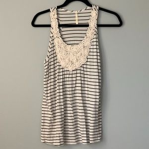 Black and White Striped Flower Tank Top